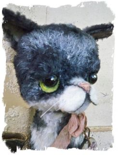 Antique Retro Style ★ Big Eye Sad Pity Kitty Cat Needs A Home★by Whendi's Bears