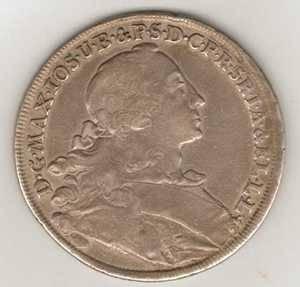1756 Silver Thaler Maximilian III Joseph w Madona Bavaria Germany 42mm