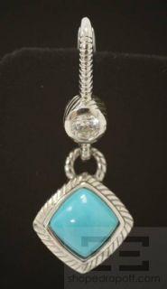 Judith Ripka Sterling Silver Crystal Turquoise Dangle Earrings