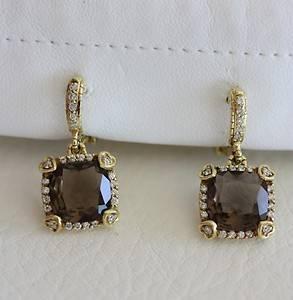 Judith Ripka Sterling 18K Gold Smokey Quartz Diamond Lola Earrings