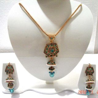 Indian Gorgeous Pearl Gold Tone Kundan Bridal Necklace Jewelry ERT EHS