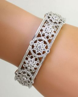 AUTHENTIC JUDITH RIPKA 3 55CT 123 CZ 925 STERLING SILVER HINGED CIRCLE BRACELET