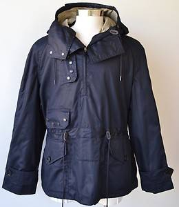 Burberry Brit Men's $695 Bailey Navy Blue Hooded Pullover Coat Jacket Small
