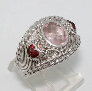 Judith Ripka Rose Quartz Garnet Heart Cable Wide Sterling Silver 925 Ring Size 7