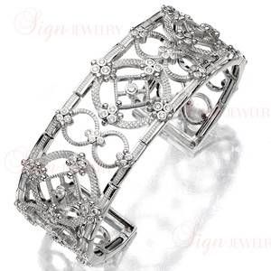 JUDITH RIPKA Laurel 18k White Gold Diamond Cuff Bracelet