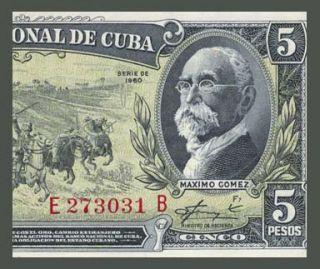 5 Pesos Banknote Cuba 1960 Che Guevara Signature EF