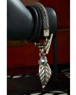 Julia Rose Woven Chain Toggle Leaf Charm Crystal Antique Silver Bracelet