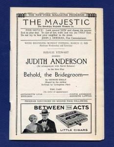 Old Theatre Program Majestic 1928 Judith Anderson
