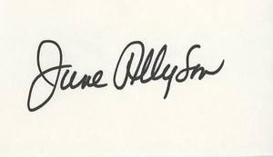 June Allyson Classic Actress Autographed 3x5 Card