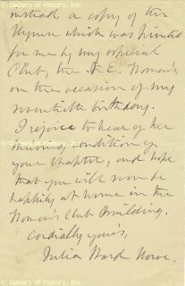 Julia Ward Howe Autograph Letter Signed 01 09 1896