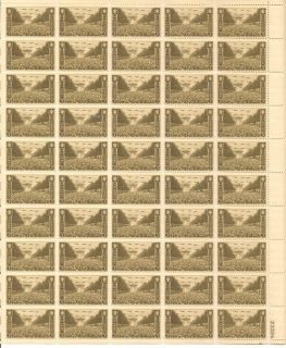 US Postage Stamps 1 Sheet 50 3 Cent US Army Block Unused