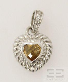 Judith Ripka Sterling Silver Citrine Diamonique Heart Pendant Enhancer