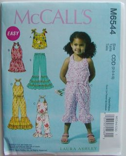 McCalls Sewing Pattern 6544 Girls Toddlers Romper Jumpsuit Top Pants
