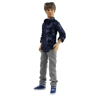 Justin Bieber Doll with Sculpted Hair Red Carpet Foil Shirt Grey Pants