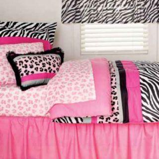 New 6 Pc Pink Black JUNGLE QUEEN Zebra TWIN BEDDING Set w Comforter