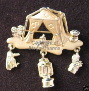 Vintage Danecraft Camping Tent Gold Plate Brooch DC239