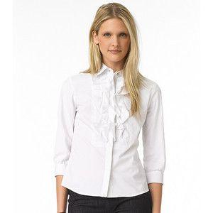 265 Tory Burch Justine White Blouse Ruffle Shirt Top 4 US