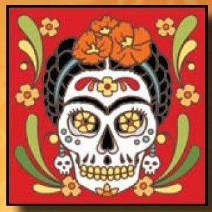 Frida Kahlo 6 x 6 Ceramic Tile Day of Dead Muertos