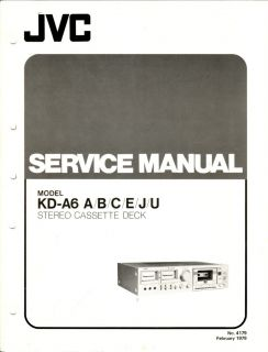 JVC Original KD A6 Cassette Deck Service Manual
