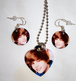 Justin Bieber Photo Charm Necklace Earring Set 1