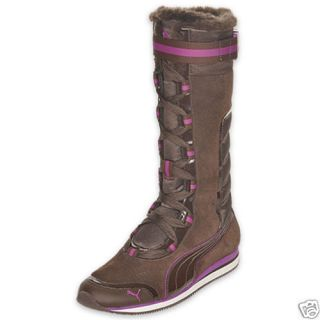 New Womens Puma Kami Brown Fur Winter Boots US 10 EU 41