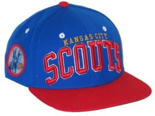 KANSAS CITY SCOUTS NHL HOCKEY VINTAGE BLUE SUPER STAR SNAPBACK HAT CAP