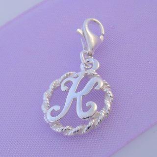 Sterling Silver 12mm Alphabet Letter K Clip on Charm