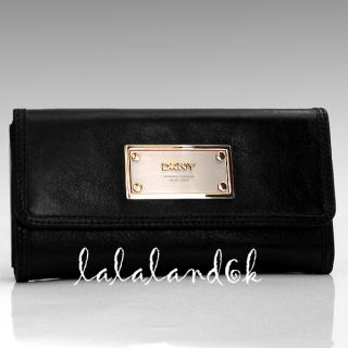 DKNY Donna Karan New York Luster Black Silver Gold Leather Clutch