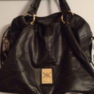 KARDASHIAN KOLLECTION Black Convertible Doctor Satchel Purse Handbag