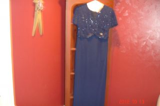 Karen Miller 4P Navy Blue Beaded Lord Taylor Dress Mother of The Bride