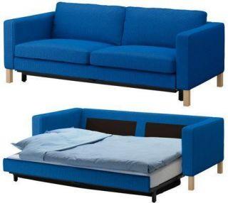 ... New IKEA KARLSTAD Sofa Bed Cover Sofabed Slipcover Korndal Medium Blue  ...