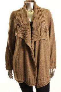 Karen Scott New Tan Pointelle Cardigan Sweater Plus 2X BHFO