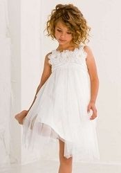 Biscotti Kate Mack Ode to Love White Roses Soft Gathered Tulle Dress