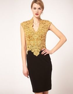 Karen Millen Black Gold Embroidered Lace Fitted Pencil Party Dress 12