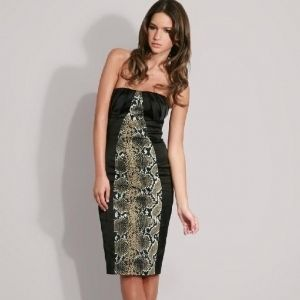 Karen Millen Black Strapless Snake Print Pencil Dress Sexy Sz 8 UK