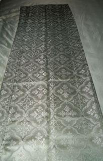 Scroll Medallion Green Damask Quality Luxury Fabric Shower Curtain NEW