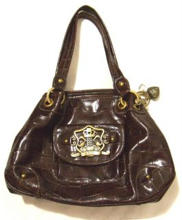 Kathy Van Zeeland Brown Croc Faux Leather Shoulder Handbag Satchel