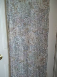 SHEER FABRIC SHOWER CURTAIN FLORAL MULTI COLORS SOFT BLUE GREEN PURPLE