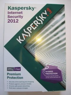 Kaspersky Internet Security 2012 3 PCs 1 Year Brand New w/ CD Retail