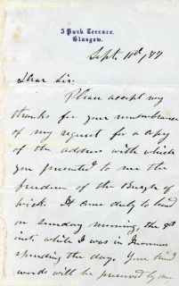 Ulysses s Grant Autograph Letter Signed 09 11 1877