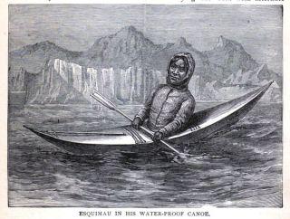 KAYAK Greenland Inuit Eskimo Resting Kayaking, Nice Antique 1896 Print