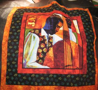 1b Keith Mallett African Jazz Print quilt square fabric panel 17 1 2 x