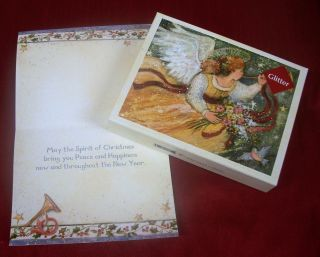 Delux Boxed Christmas Cards by LANG TRUMPETING ANGEL w/ art by Susan