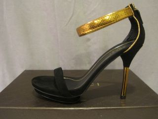 Gucci Black Suede Python Kelis Runway Sandals 39 9