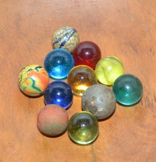 Vintage Lot of 11 Larger Sized Marbles Clay Rubber Swirl Glass