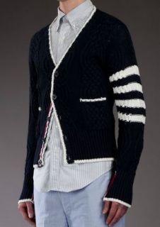 New Thom Browne Cable Knit Dark Navy Cardigan Slim Sz 5