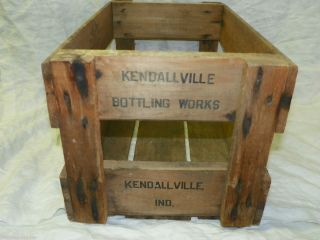 RARE OLD KENDALLVILLE INDIANA IND BOTTLING WORKS WOOD CRATE WOODEN