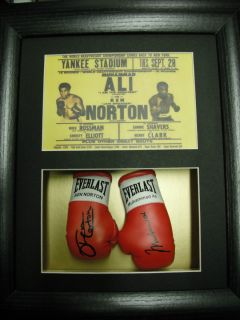 Muhammad Ali Ken Norton Mini Signed Boxing Gloves Framed