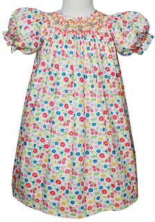 Girls Hand Smocked White Easter Floral Bishop Dress 3 3T 17555