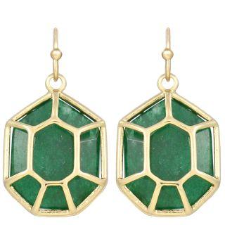 Kendra Scott Minnie Dangle Earrings Green Jade 14k Gold Plated